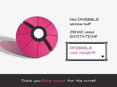 Hello Dribbble! ux ui design geeky geek indian invite illustration branding game design gameboy pink hello hello dribbble pokeball pokémon pokemon