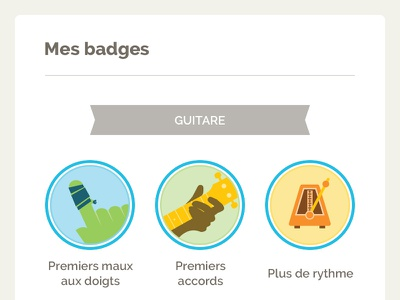 Badges progress learn e-learning guitar music gamification badges