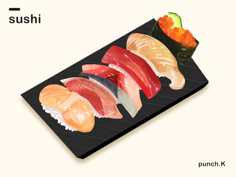 sushi sushi japanese food illustration