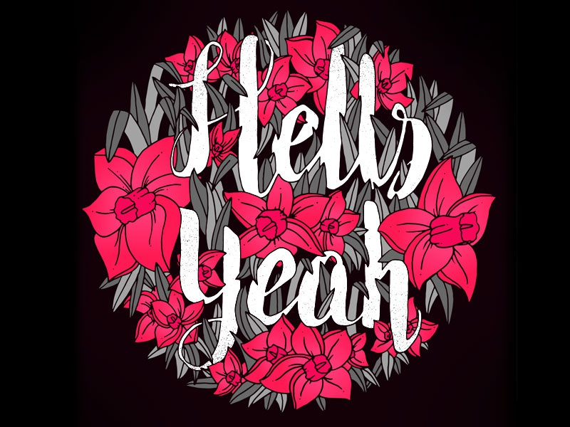 Hells Yeah letters typography lettering hand lettering type minimal simple line art illustration vector vector illustration