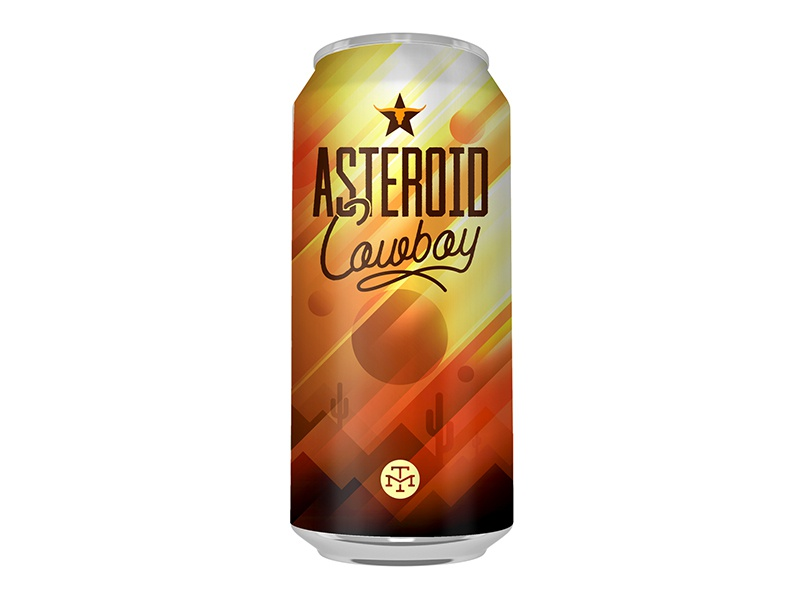 Asteroid Cowboy design illustrator can brewery beer cowboy asteroid