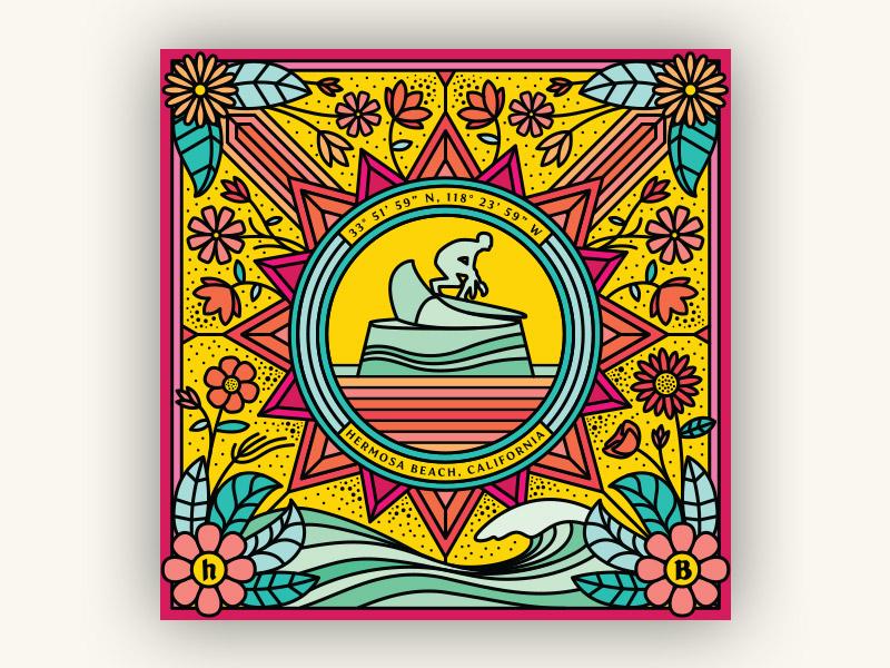 Colorful Hermosa graphic design line art illustrator vector illustration