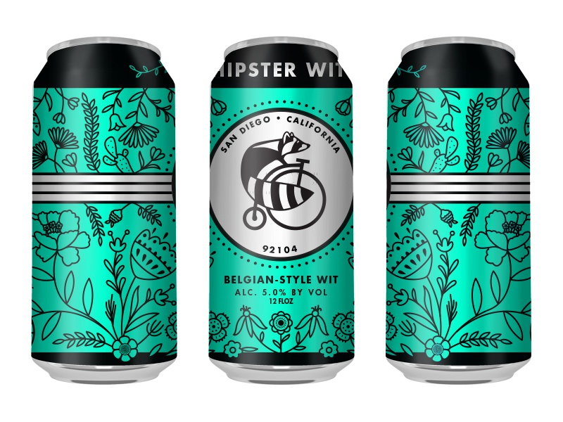 Thorn Street Brewery - Hipster Wit - Beer Can brew brewery beer drawing sketch artwork graphic design line art illustrator vector illustration