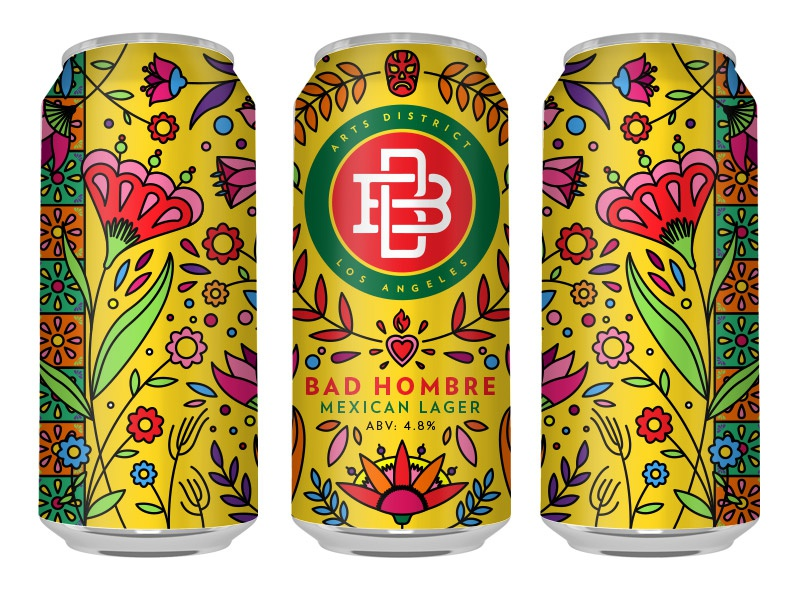 Boomtown Brewery -  Bad Hombre - Can brew brewery beer drawing sketch artwork graphic design line art illustrator vector illustration