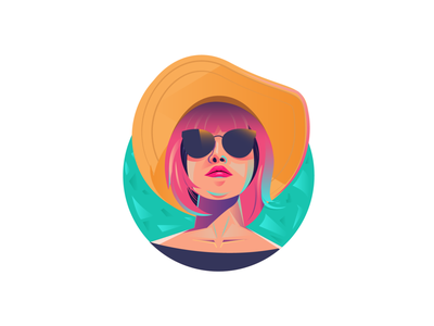 Lady cool 2d character flat animation website vector illustration design