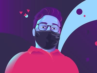 self portrait website design 2d character flat animation website vector illustration design