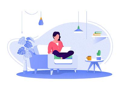 Workspace flat website vector illustration design