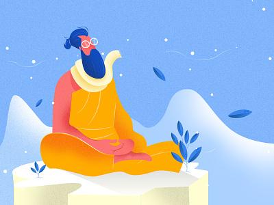 Inner peace minimal logo flat vector website illustration design