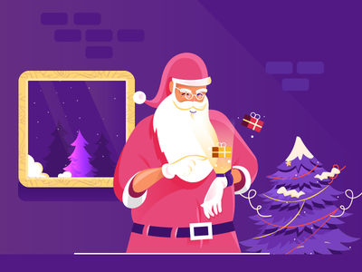 smart santa web landingpage 2d character flat website vector illustration design