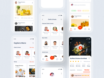 Learn Cooking - Social application for food lovers UI kit dailyui free design dribbble trending ui drawing feed page social app landing design animation madbrains illustration