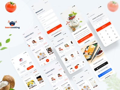 Learn Cooking - Social application for food lovers UI kit app website typography landing madbrains illustration animation food and drink ui8 social app free learning cooking food