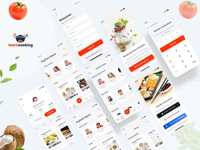 Learn Cooking - Social application for food lovers UI kit abhinavsharma uiuxdesigner app website typography landing madbrains illustration animation food and drink ui8 social app free learning cooking food