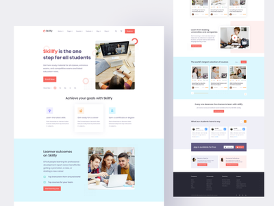 Skilify E-Learning Website - Online Course Website Template uiuxdesigner landing page design feature page landing page silder education saas creative landingpage