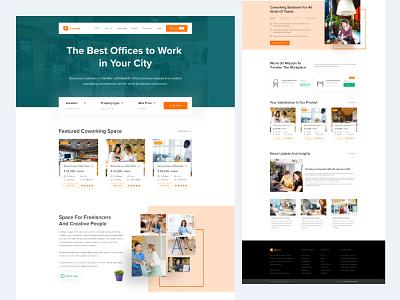 Find Co-working space typography design landing branding animation app madbrains illustration redesign creative landing page find desk find office
