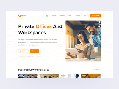 Cowoking Space flat minimal icon vector website typography animation branding illustration madbrains fitness