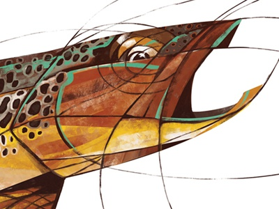 The Brown fishing art illustration fly fishing trout brown trout