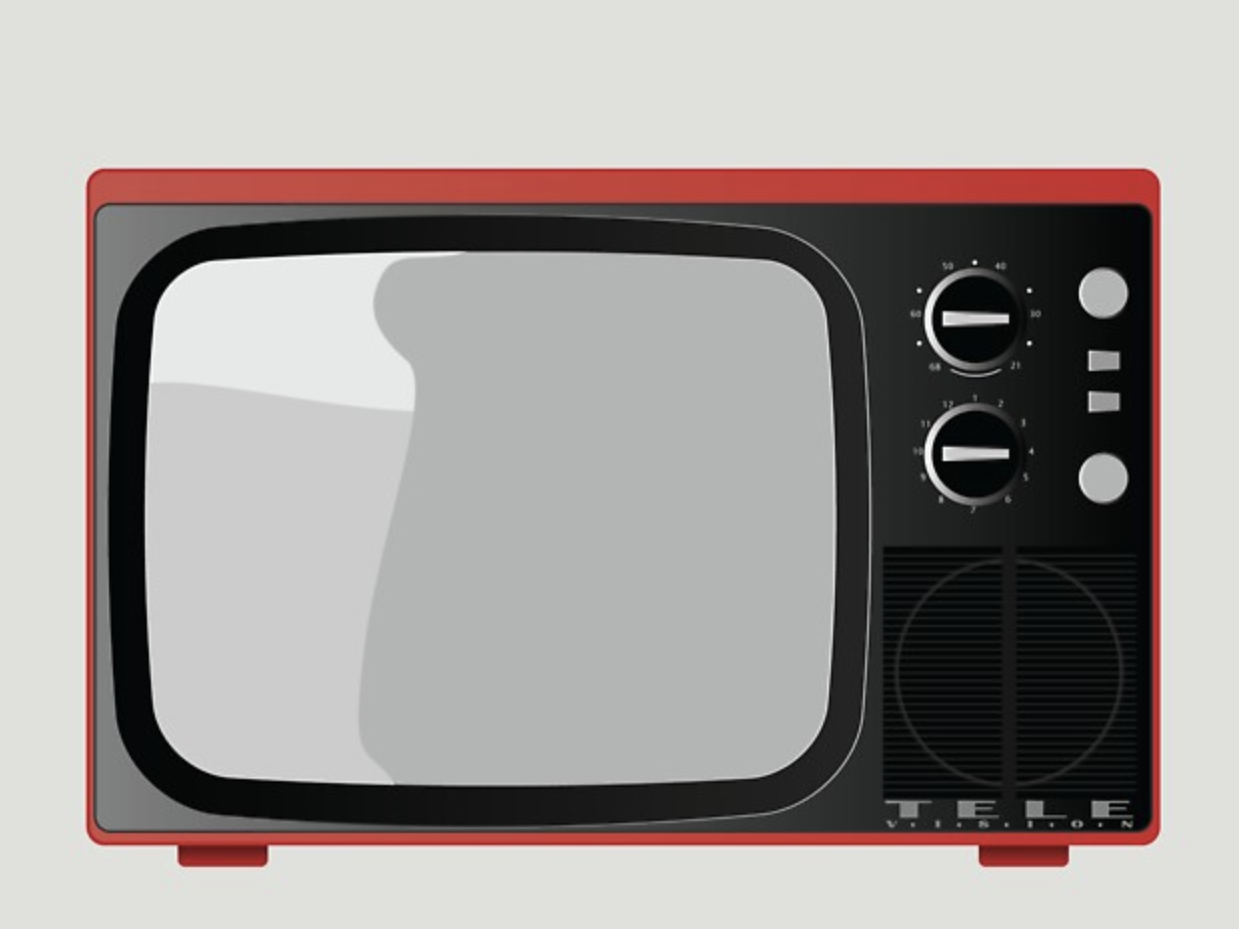 Vintage Television telly boob tube vector art screen red vintage t v television