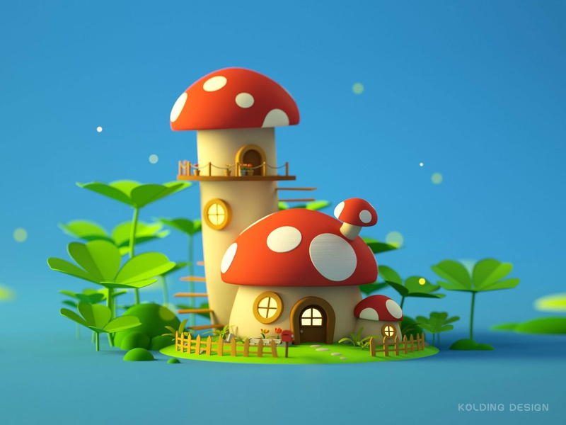 Home of the elves - 02 - Summer 3d art 3d octane illustraion elf cartoon cabin c4d cinema 4d building