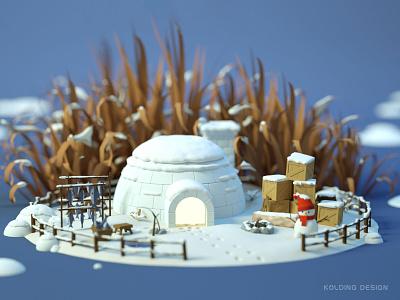 Home of the elves-04-Winter scenario fishing snowman eskimo igloo 3d art illustraion elf winter cabin octane c4d building