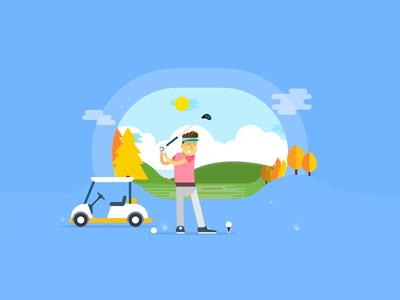 Hello Dribbble character game play golf vector illustration debut