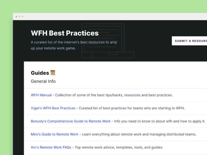 WFH Best Practices resources landing page remote work remote wfh