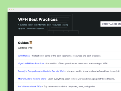 WFH Best Practices resources landing page remote work remote wfh
