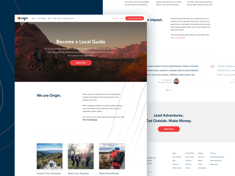 Landing Page for Adventure Guide Service brand layout hero website web landing page landing