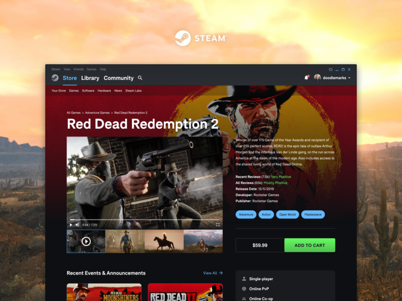 Steam Redesign - Title View landing page layout ui valve pc games videogames redesign steam