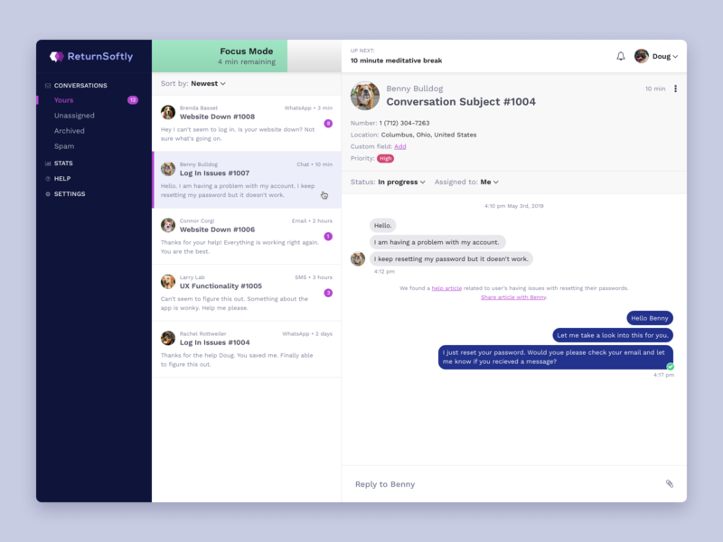 Chat App Concept app product ui messaging conversation support customer service chat