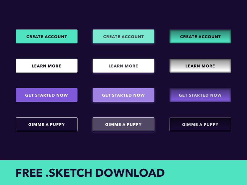 Free Download Sketch Buttons Pack By Mark Peck Dribbble Dribbble