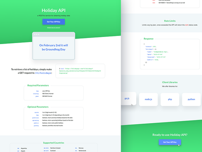 Holiday API Redesign product ui ux landing page