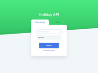 Holiday API Create Account/Sign In