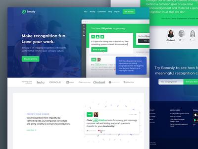 Bonus.ly Redesign bonusly layout visual landing page landing redesign
