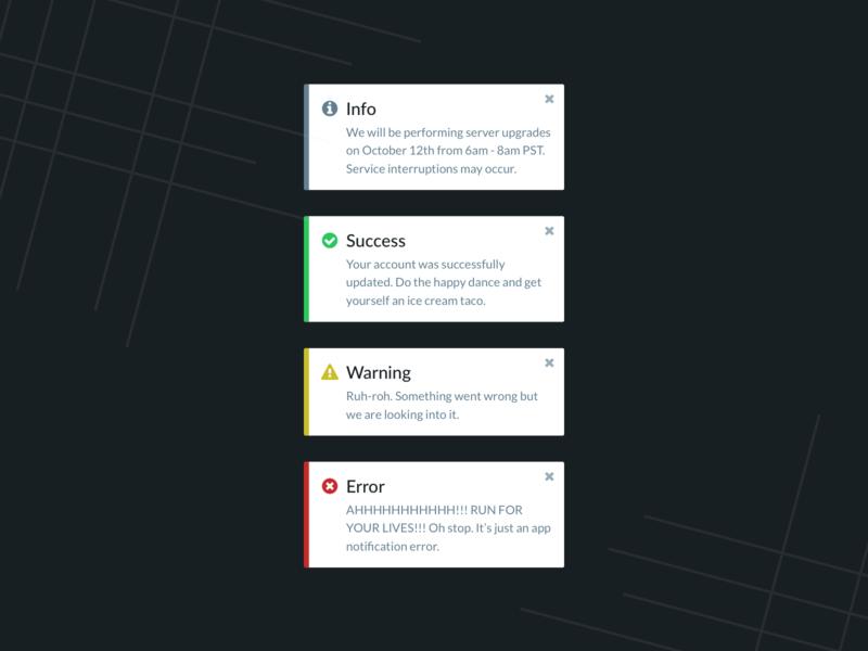 App Toast Notifications daily ui dailyui layout ux ui app toast notification toast notifications