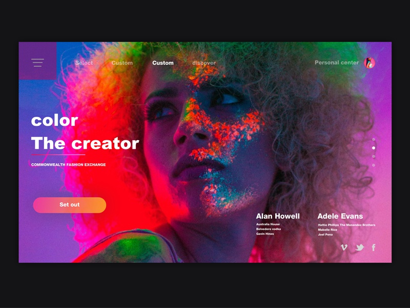 The creator carnival fashion color discover ui register share style theme webpage web design