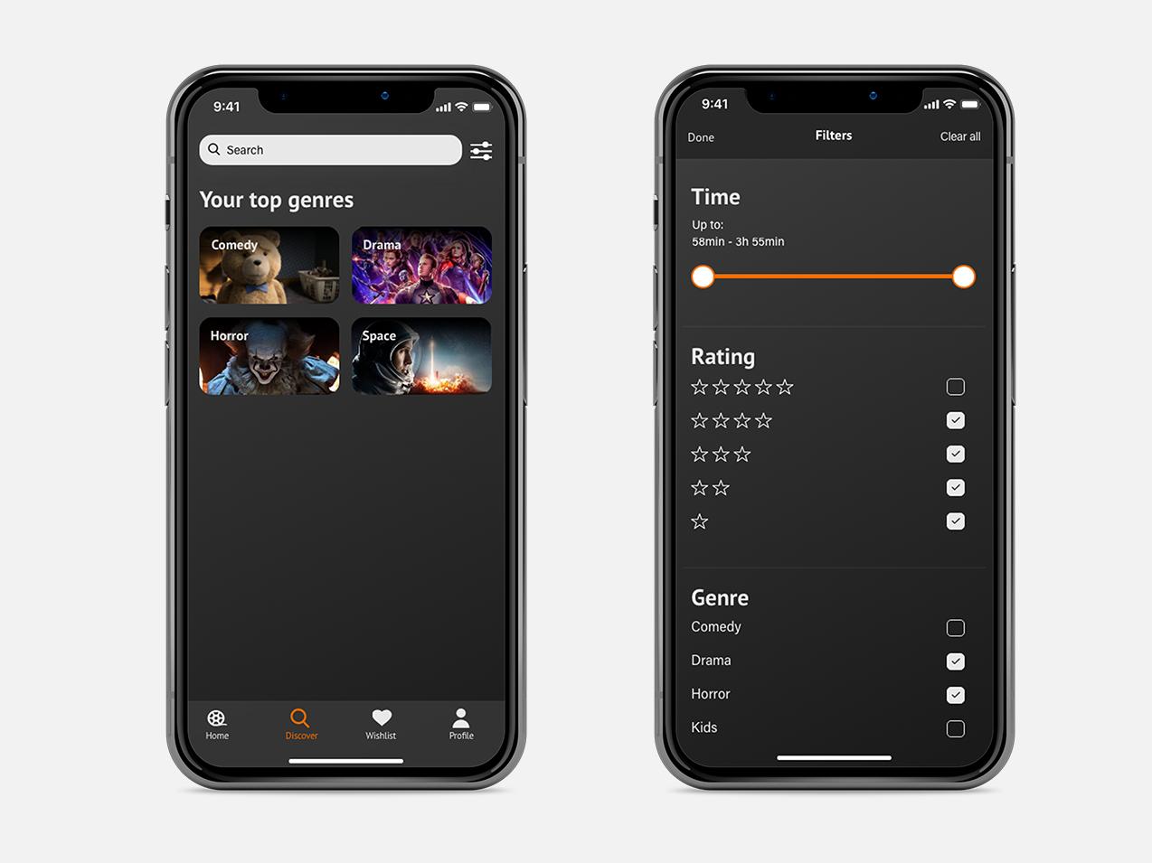 Movie app | Search & Filter moons black slider rating filter search movie app movie ui app