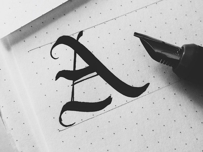eh calligraphy letter a lettering hand drawn nib black and white type