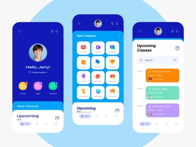 Education App for Students mobile ux ui menu color shedule timeline intraction layout icons 3d illustrator category profile education