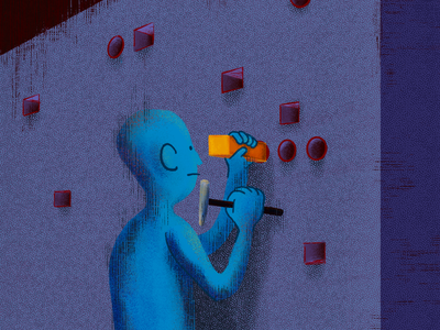 Square Peg Round Hole painting procreate illustration