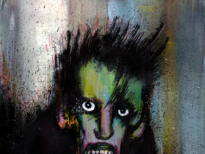 I Am Not Dead Yet ink crayon painting acrylic illustration