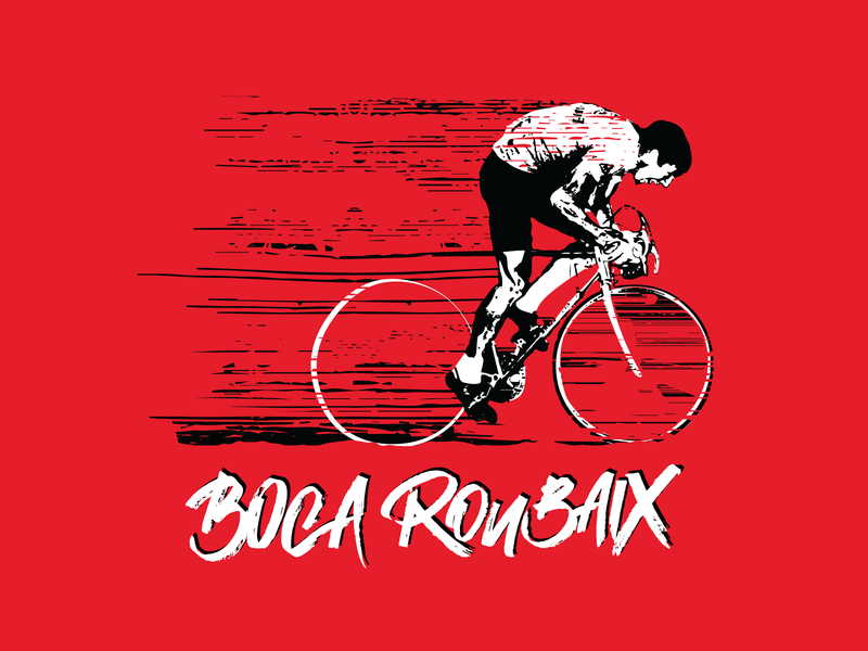 Boca Roubaix apparel logo design cycling illustration