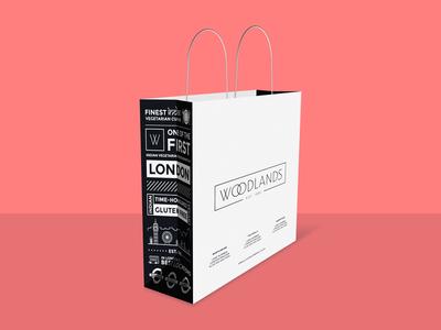 Woodlands Restaurant paper bag design carry bag design paper bag carry bag takeaway bag bag design bag infographic infographic design creative bag design package package design