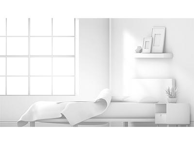 First Light window bed room render model c4d