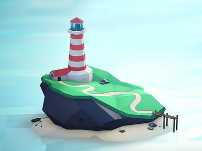 A Getaway beach ocean island lighthouse render model c4d
