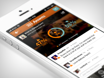Results Screen Redesign ios iphone app questions social polling answers orange feedback results
