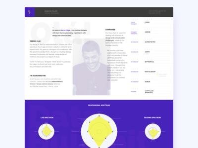 A Page About Marcos Felipe timeline spectrum ux ui exercise narrative portfolio designer about identity