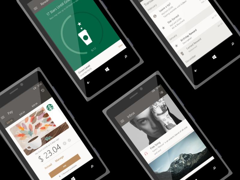 Starbucks Windows Phone windows phone mobile coffee interface ui starbucks