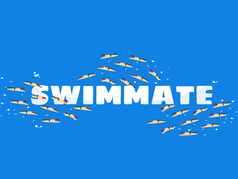 SWIMMATE illustrator trainers sport aqua fish swimmers swiming sea cartoon vector icon english typography figma marvel flat app branding design logo
