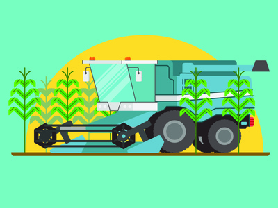 Combine Harvester lines illustrator cc animation 2d illustration