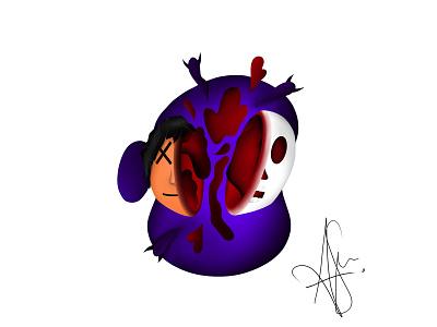 Split procreate design illustration ipad evil soul blood dead human skull split